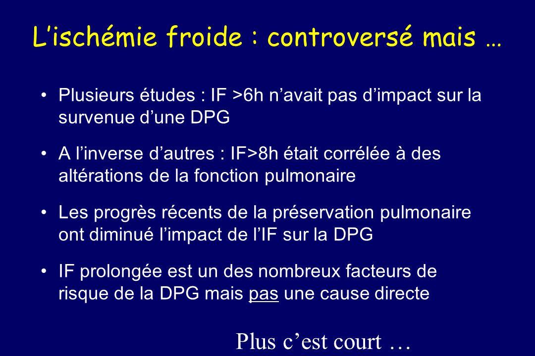 Lischémie froide : controversé mais … Plusieurs études : IF >6h navait pas dimpact sur la survenue dune DPG A linverse dautres : IF>8h était corrélée