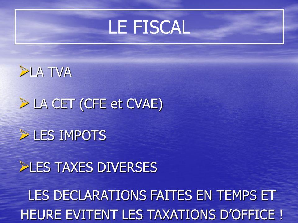LE FISCAL LA TVA LA TVA LA CET (CFE et CVAE) LA CET (CFE et CVAE) LES IMPOTS LES IMPOTS LES TAXES DIVERSES LES TAXES DIVERSES LES DECLARATIONS FAITES EN TEMPS ET HEURE EVITENT LES TAXATIONS DOFFICE !