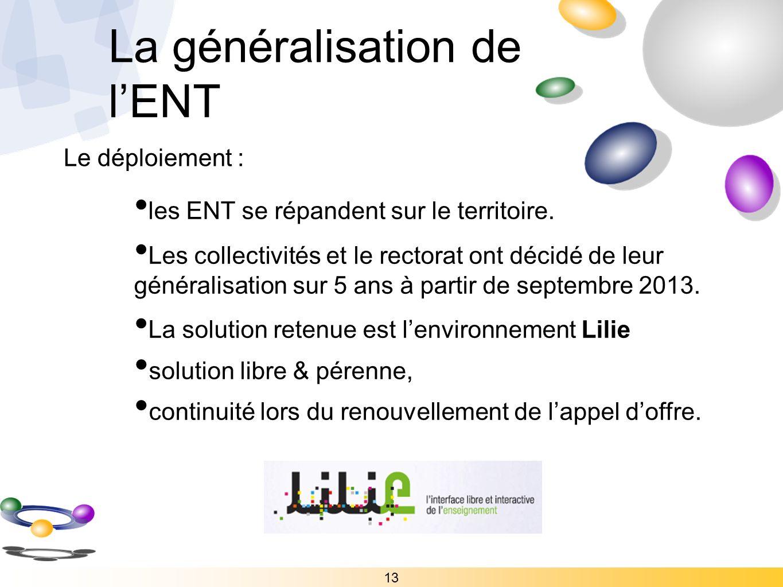 13 Le déploiement : les ENT se répandent sur le territoire. Les collectivités et le rectorat ont décidé de leur généralisation sur 5 ans à partir de s