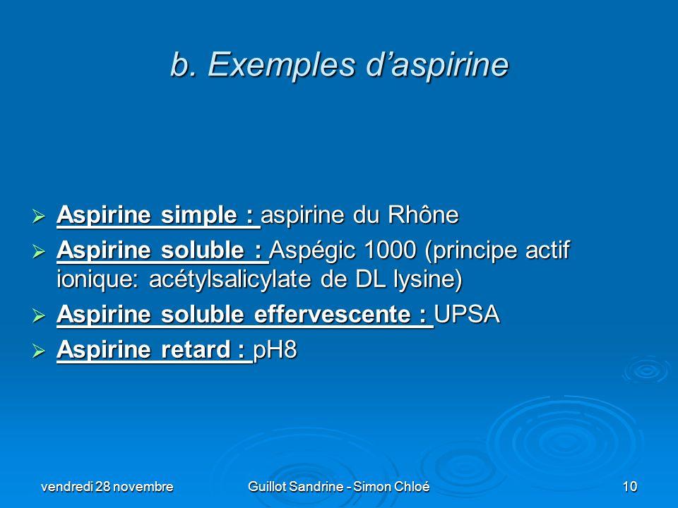 b. Exemples daspirine Aspirine simple : aspirine du Rhône Aspirine simple : aspirine du Rhône Aspirine soluble : Aspégic 1000 (principe actif ionique: