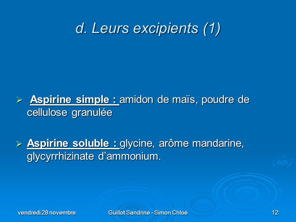 d. Leurs excipients (1) Aspirine simple : amidon de maïs, poudre de cellulose granulée Aspirine simple : amidon de maïs, poudre de cellulose granulée
