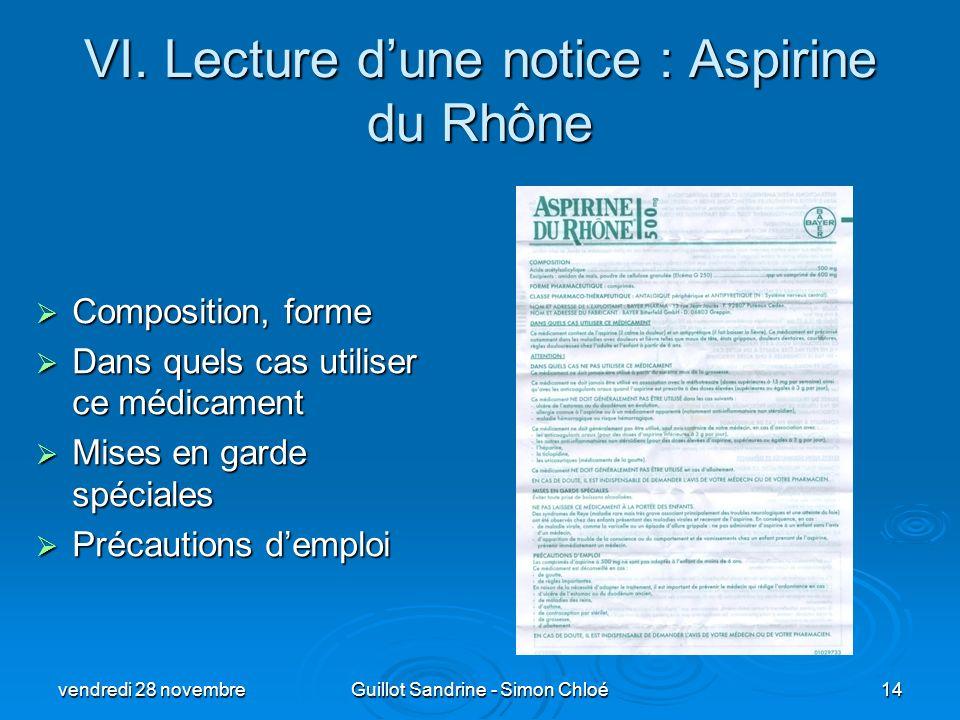 VI. Lecture dune notice : Aspirine du Rhône Composition, forme Composition, forme Dans quels cas utiliser ce médicament Dans quels cas utiliser ce méd
