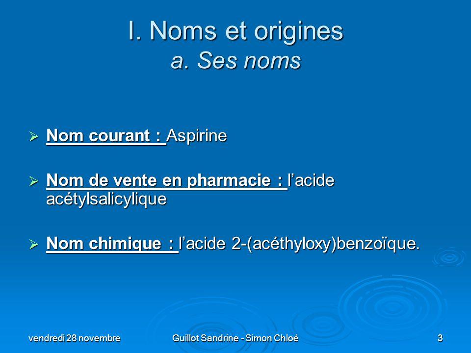 I. Noms et origines a. Ses noms Nom courant : Aspirine Nom courant : Aspirine Nom de vente en pharmacie : lacide acétylsalicylique Nom de vente en pha