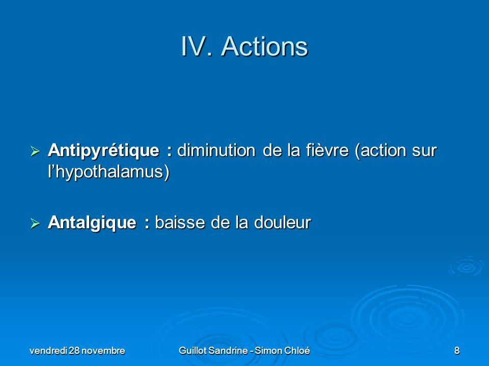 IV. Actions Antipyrétique : diminution de la fièvre (action sur lhypothalamus) Antipyrétique : diminution de la fièvre (action sur lhypothalamus) Anta