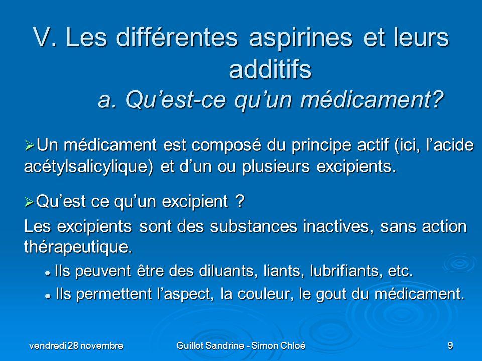 V. Les différentes aspirines et leurs additifs a. Quest-ce quun médicament? Un médicament est composé du principe actif (ici, lacide acétylsalicylique