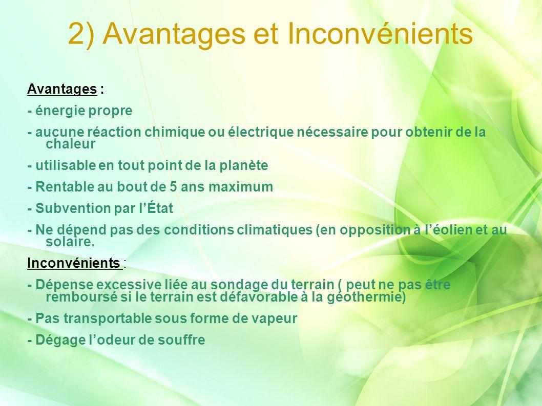 2) Avantages et Inconvénients Avantages : - énergie propre - aucune réaction chimique ou électrique nécessaire pour obtenir de la chaleur - utilisable