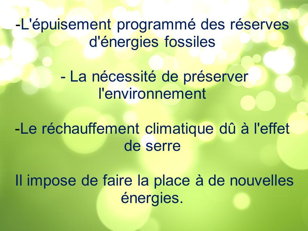-L'épuisement programmé des réserves d'énergies fossiles - La nécessité de préserver l'environnement -Le réchauffement climatique dû à l'effet de serr