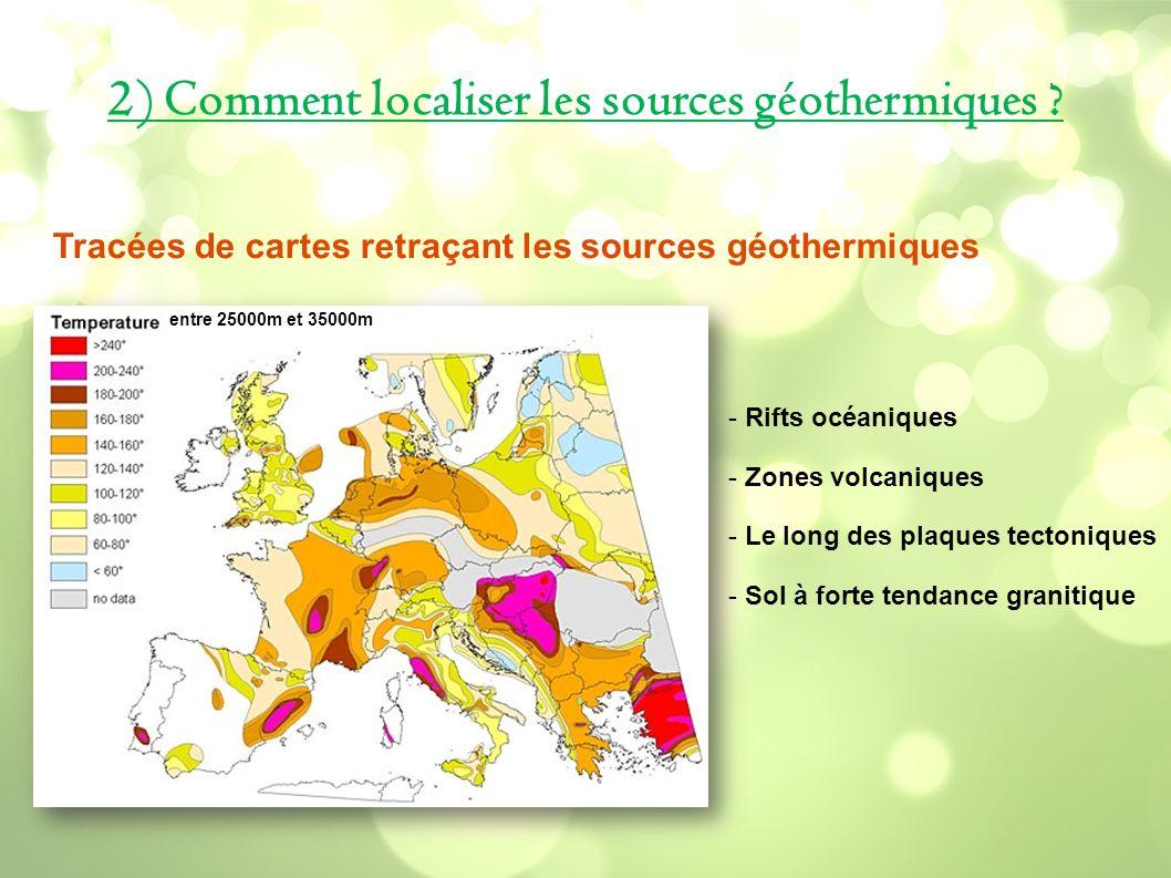 2) Comment localiser les sources géothermiques ? entre 25000m et 35000m Tracées de cartes retraçant les sources géothermiques - Rifts océaniques - Zon