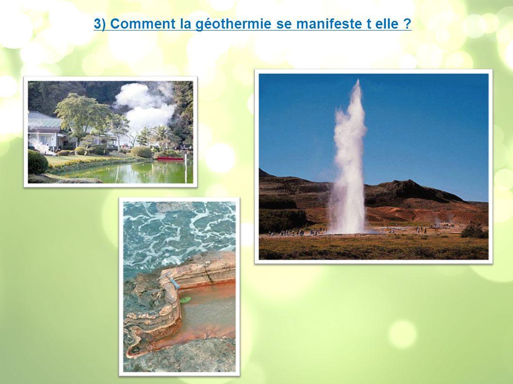 II) L énergie géothermique 1) Différentes formes d énergie géothermiques - Géothermie basse énergie (30 à 90°C) :