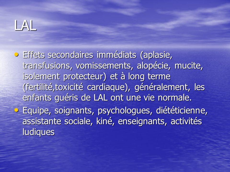 LAL Effets secondaires immédiats (aplasie, transfusions, vomissements, alopécie, mucite, isolement protecteur) et à long terme (fertilité,toxicité car