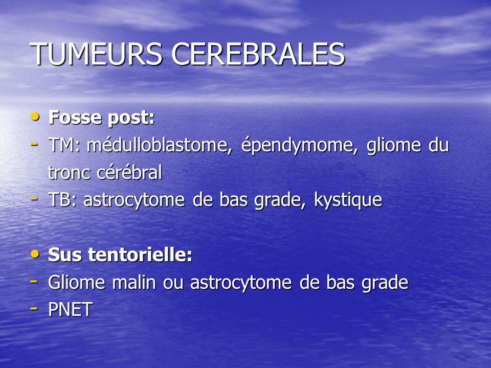 TUMEURS CEREBRALES Fosse post: Fosse post: - TM: médulloblastome, épendymome, gliome du tronc cérébral tronc cérébral - TB: astrocytome de bas grade,