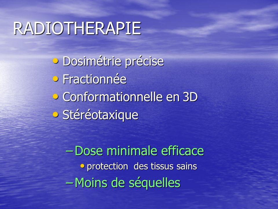 RADIOTHERAPIE Dosimétrie précise Dosimétrie précise Fractionnée Fractionnée Conformationnelle en 3D Conformationnelle en 3D Stéréotaxique Stéréotaxiqu
