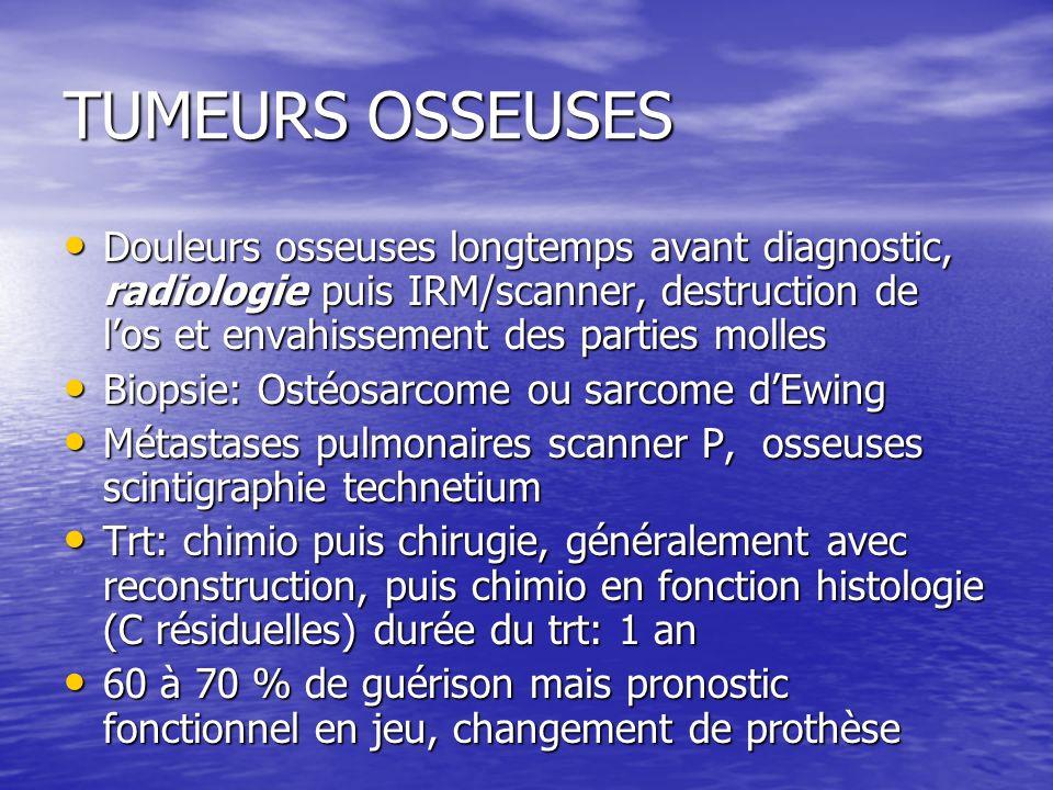 TUMEURS OSSEUSES Douleurs osseuses longtemps avant diagnostic, radiologie puis IRM/scanner, destruction de los et envahissement des parties molles Dou