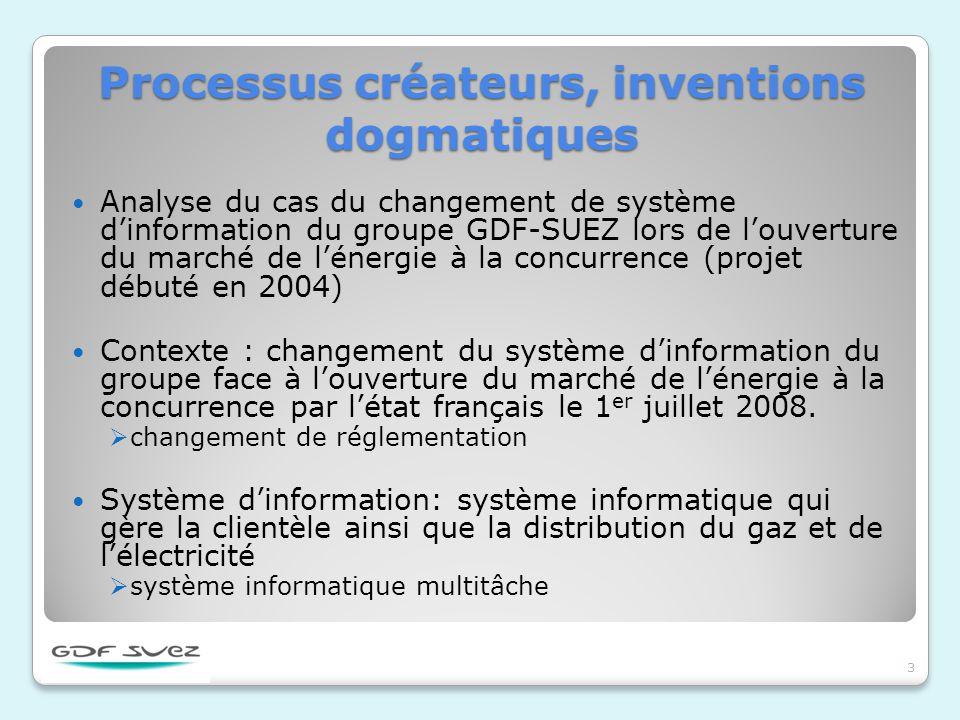 Processus créateurs, inventions dogmatiques Analyse du cas du changement de système dinformation du groupe GDF-SUEZ lors de louverture du marché de lé