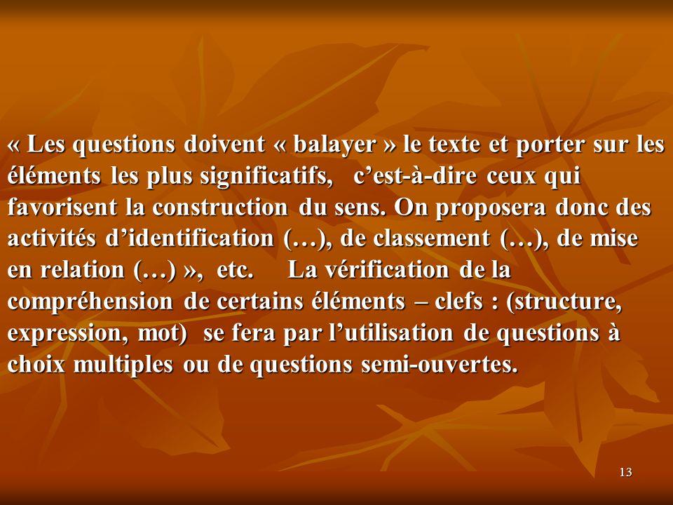 13 « Les questions doivent « balayer » le texte et porter sur les éléments les plus significatifs, cest-à-dire ceux qui favorisent la construction du