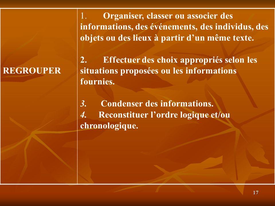 17 REGROUPER 1. Organiser, classer ou associer des informations, des événements, des individus, des objets ou des lieux à partir dun même texte. 2. Ef