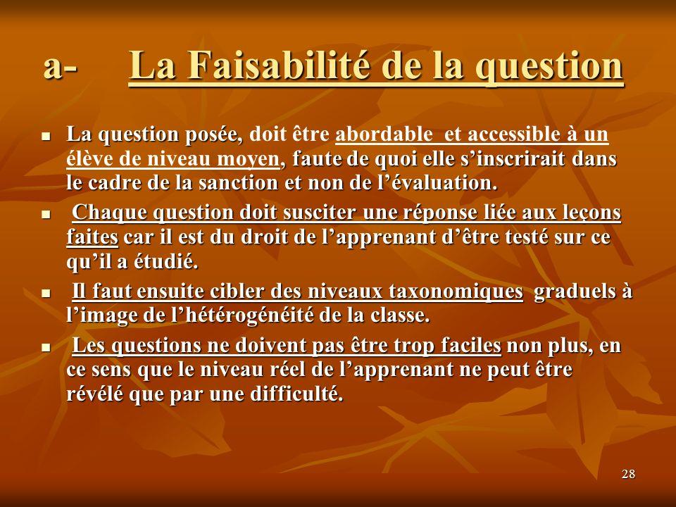 28 a- La Faisabilité de la question a- La Faisabilité de la question La question posée,, faute de quoi elle sinscrirait dans le cadre de la sanction e