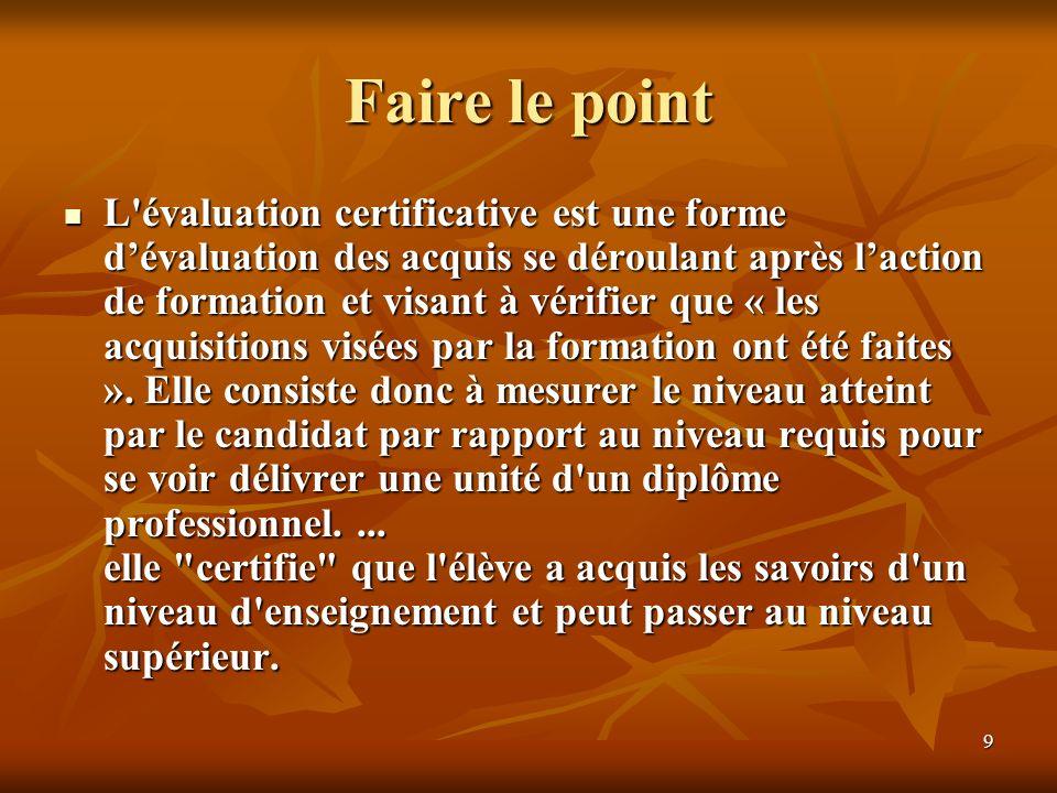 9 Faire le point L'évaluation certificative est une forme dévaluation des acquis se déroulant après laction de formation et visant à vérifier que « le
