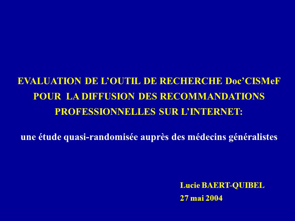 DESCRIPTION, INDEXATION ET CLASSIFICATION DES RESSOURCES LES METADONNEES - Dublin Core + 7 autres champs spécifiques à CISMeF (décrire et indexer les ressources) - HIDDLE (transparence, la confiance et la qualité de linformation) - métadonnées spécifiques à lenseignement: (ex : « cycle », « lannée d étude ») LE THESAURUS MeSH - Version française de l INSERM - Langage le plus connu par les professionnels de santé (Medline) - 22600 mots-clés (ex : « abdomen », « tumeur ») et 84 qualificatifs (ex : « diagnostic », « complication ») LES METATERMES - Permettent un classement thématique - Correspondent à des spécialités biologiques ou médicales LES TYPES DE RESSOURCES Décrivent la nature de la ressource (ex : « recommandation », « patient », « corrigé d annales »)