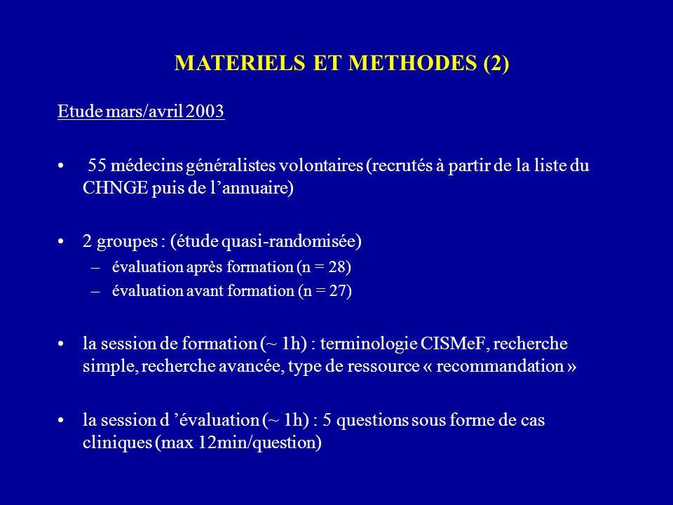 Etude mars/avril 2003 55 médecins généralistes volontaires (recrutés à partir de la liste du CHNGE puis de lannuaire) 2 groupes : (étude quasi-randomi
