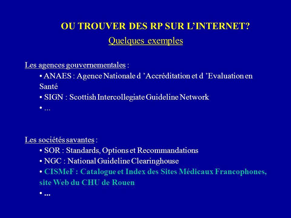OU TROUVER DES RP SUR LINTERNET? Les agences gouvernementales : ANAES : Agence Nationale d Accréditation et d Evaluation en Santé SIGN : Scottish Inte