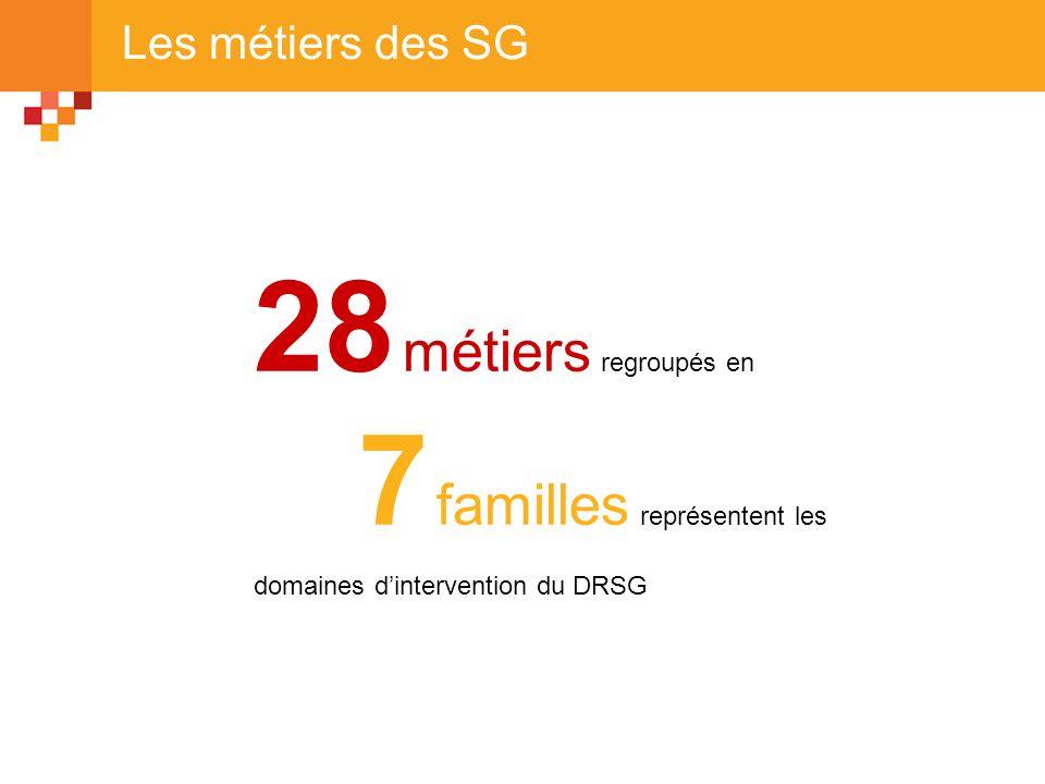 28 métiers regroupés en 7 familles représentent les domaines dintervention du DRSG Les métiers des SG