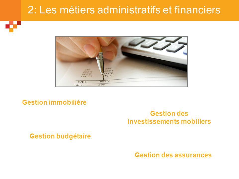 2: Les métiers administratifs et financiers Gestion immobilière Gestion budgétaire Gestion des investissements mobiliers Gestion des assurances
