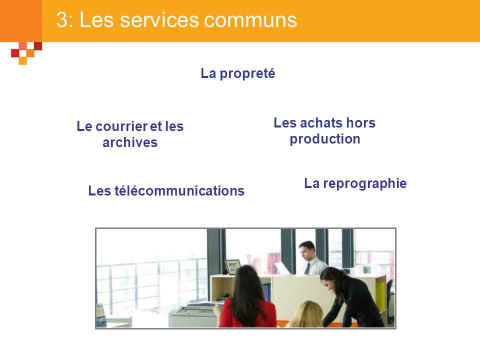 3: Les services communs La propreté Le courrier et les archives Les achats hors production La reprographie Les télécommunications