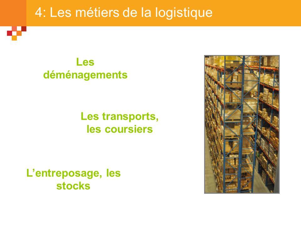 4: Les métiers de la logistique Les déménagements Les transports, les coursiers Lentreposage, les stocks