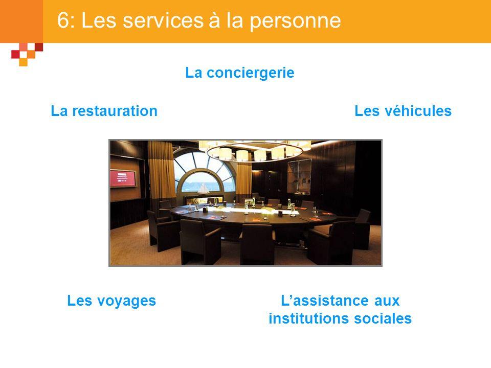 6: Les services à la personne La restaurationLes véhicules Les voyages La conciergerie Lassistance aux institutions sociales