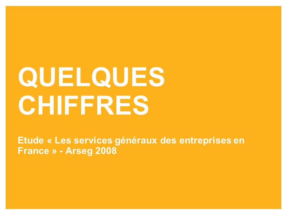 QUELQUES CHIFFRES Etude « Les services généraux des entreprises en France » - Arseg 2008