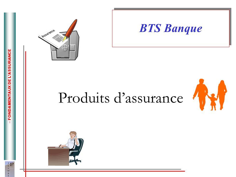 – FONDAMENTAUX DE LASSURANCE Produits dassurance BTS Banque