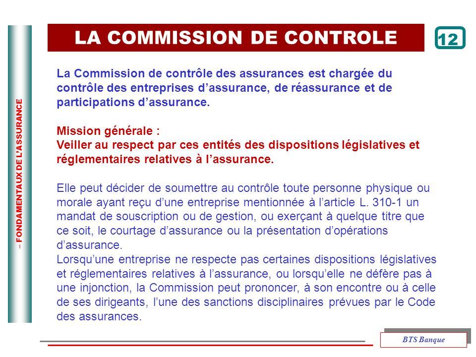 – FONDAMENTAUX DE LASSURANCE LA COMMISSION DE CONTROLE 12 La Commission de contrôle des assurances est chargée du contrôle des entreprises dassurance,