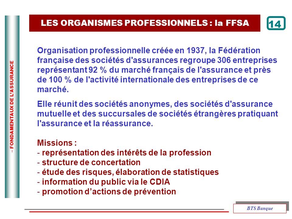 – FONDAMENTAUX DE LASSURANCE LES ORGANISMES PROFESSIONNELS : la FFSA 14 Organisation professionnelle créée en 1937, la Fédération française des sociét