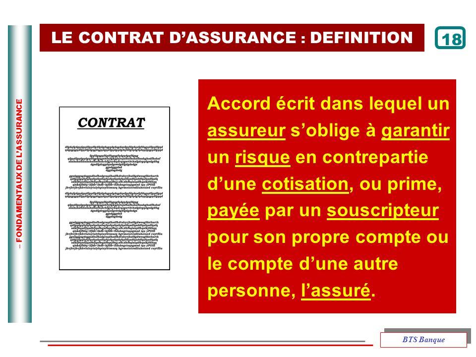 – FONDAMENTAUX DE LASSURANCE LE CONTRAT DASSURANCE : DEFINITION Accord écrit dans lequel un assureur soblige à garantir un risque en contrepartie dune