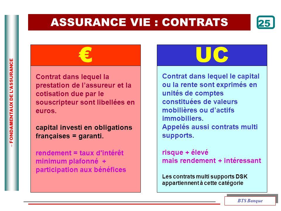 – FONDAMENTAUX DE LASSURANCE 25 UC Contrat dans lequel la prestation de lassureur et la cotisation due par le souscripteur sont libellées en euros. ca