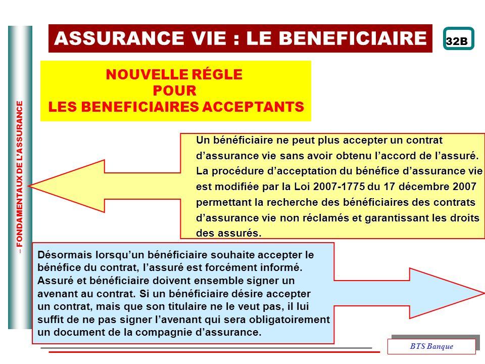 – FONDAMENTAUX DE LASSURANCE ASSURANCE VIE : LE BENEFICIAIRE NOUVELLE RÉGLE POUR LES BENEFICIAIRES ACCEPTANTS Un bénéficiaire ne peut plus accepter un