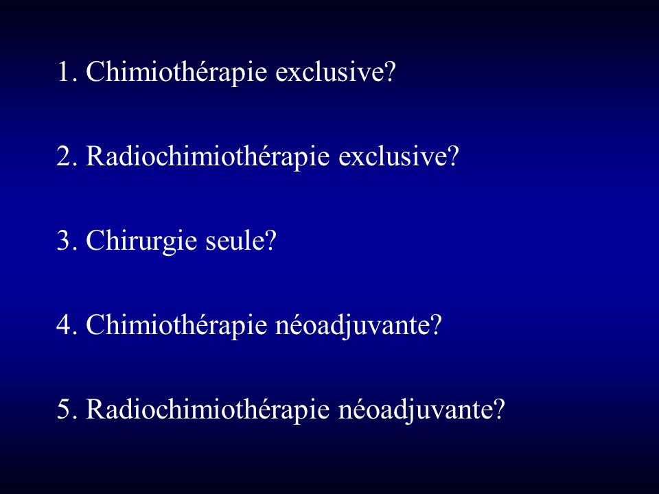 1. Chimiothérapie exclusive? 2. Radiochimiothérapie exclusive? 3. Chirurgie seule? 4. Chimiothérapie néoadjuvante? 5. Radiochimiothérapie néoadjuvante