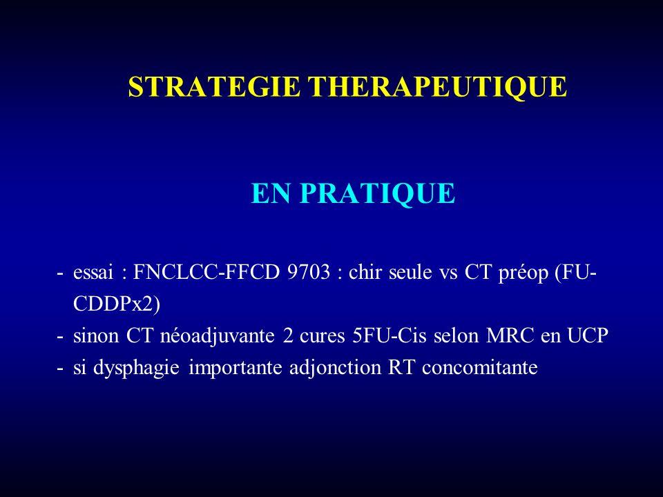 STRATEGIE THERAPEUTIQUE EN PRATIQUE -essai : FNCLCC-FFCD 9703 : chir seule vs CT préop (FU- CDDPx2) -sinon CT néoadjuvante 2 cures 5FU-Cis selon MRC e