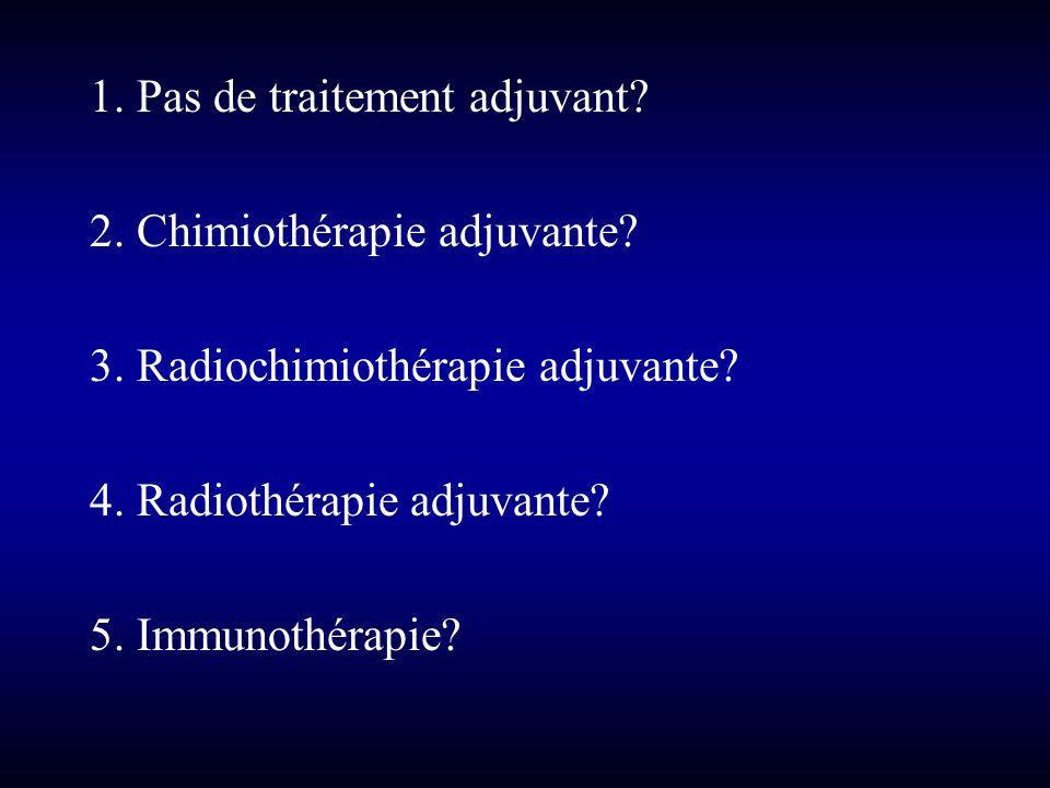 1. Pas de traitement adjuvant? 2. Chimiothérapie adjuvante? 3. Radiochimiothérapie adjuvante? 4. Radiothérapie adjuvante? 5. Immunothérapie?