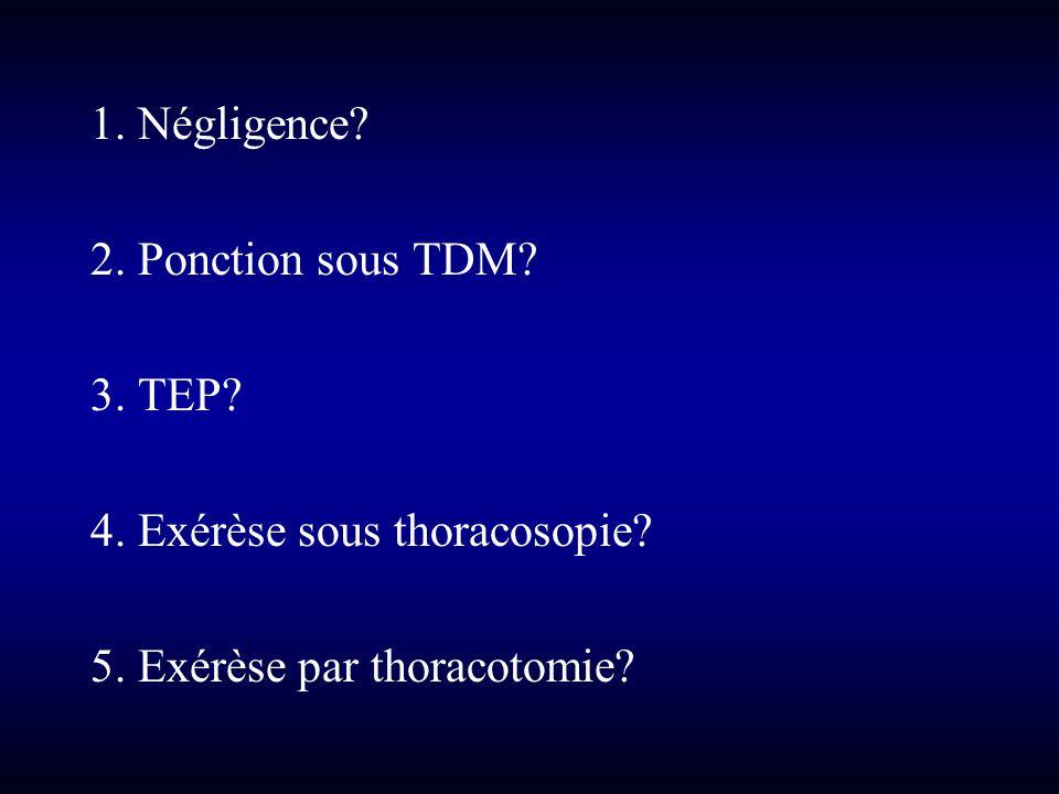 1. Négligence? 2. Ponction sous TDM? 3. TEP? 4. Exérèse sous thoracosopie? 5. Exérèse par thoracotomie?