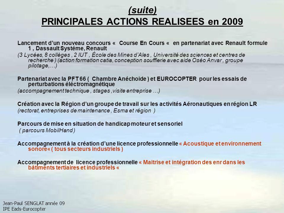 (suite) PRINCIPALES ACTIONS REALISEES en 2009 Lancement dun nouveau concours « Course En Cours « en partenariat avec Renault formule 1, Dassault Systé