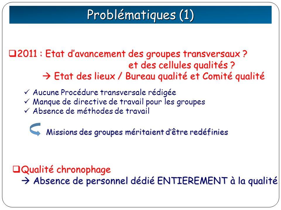 Problématiques (1) 2011 : Etat davancement des groupes transversaux ? 2011 : Etat davancement des groupes transversaux ? et des cellules qualités ? et
