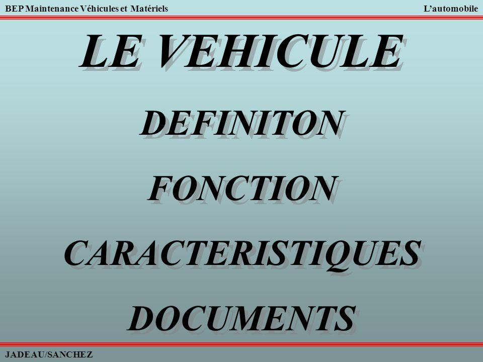 BEP Maintenance Véhicules et MatérielsLautomobile JADEAU/SANCHEZ 1/ Définition dune automobile : Un véhicule automobile est un engin qui, par son propre moteur, permet le transport de personnes et de marchandises dun point à un autre dans les meilleures conditions de confort et de sécurité.