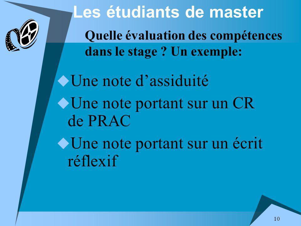 10 Les étudiants de master Une note dassiduité Une note portant sur un CR de PRAC Une note portant sur un écrit réflexif Quelle évaluation des compétences dans le stage .