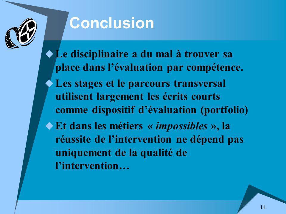 11 Conclusion Le disciplinaire a du mal à trouver sa place dans lévaluation par compétence.