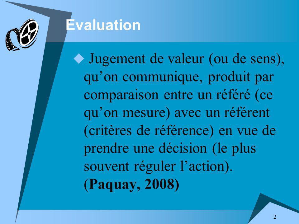 2 Evaluation Jugement de valeur (ou de sens), quon communique, produit par comparaison entre un référé (ce quon mesure) avec un référent (critères de référence) en vue de prendre une décision (le plus souvent réguler laction).