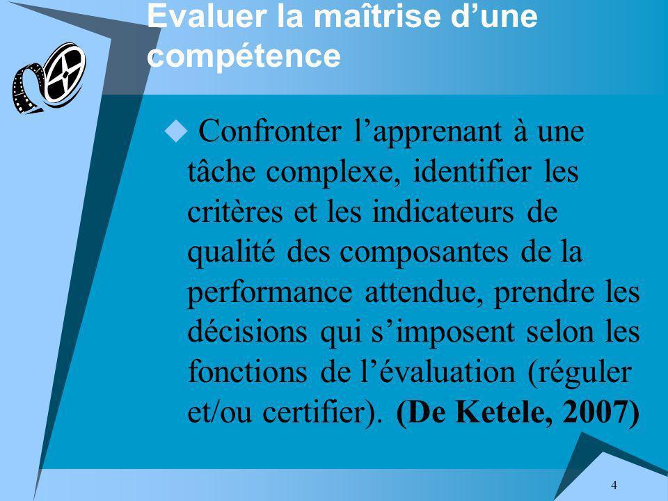 4 Evaluer la maîtrise dune compétence Confronter lapprenant à une tâche complexe, identifier les critères et les indicateurs de qualité des composantes de la performance attendue, prendre les décisions qui simposent selon les fonctions de lévaluation (réguler et/ou certifier).