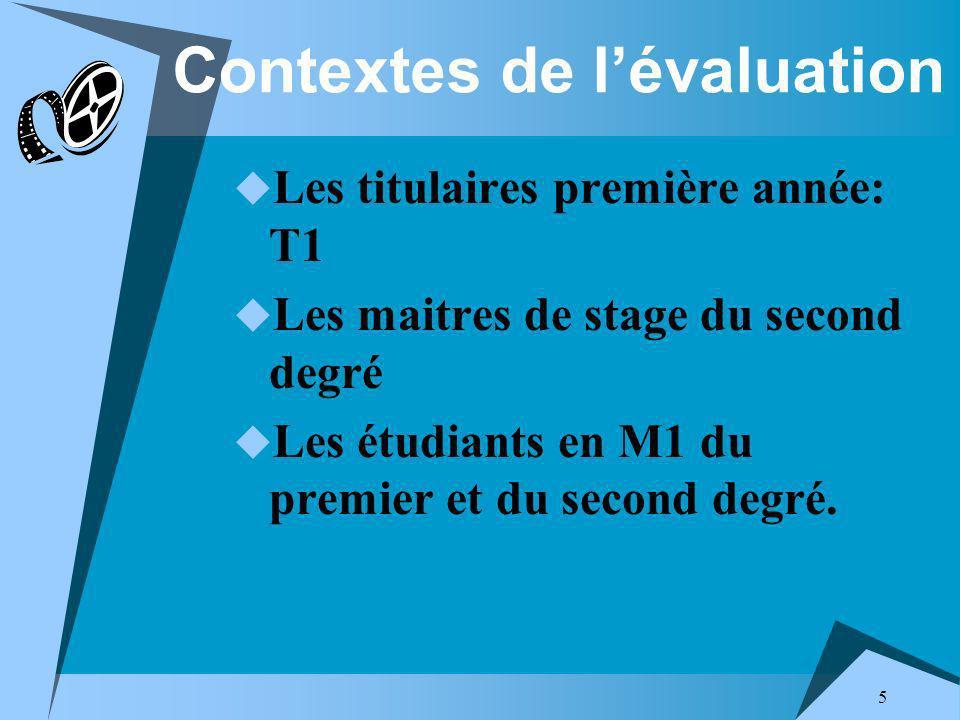 5 Contextes de lévaluation Les titulaires première année: T1 Les maitres de stage du second degré Les étudiants en M1 du premier et du second degré.