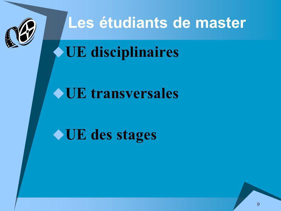 9 Les étudiants de master UE disciplinaires UE transversales UE des stages